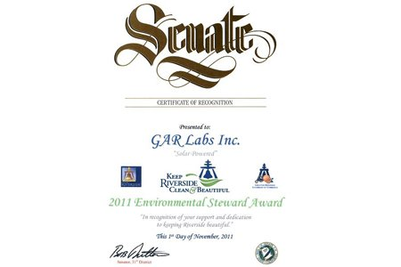 GAR Labs Solar California State Senate Environmental Steward Award